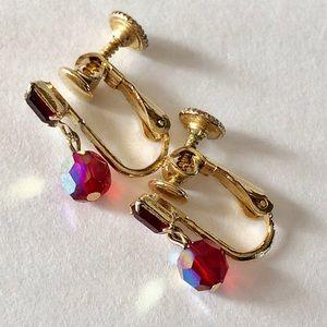 Vintage ruby red screwback clip on earrings